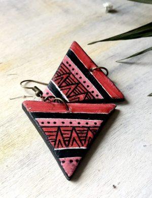 """Cercei triunghi rosu """" Aztec6"""""""