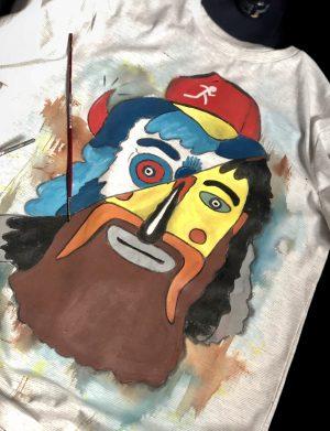 """Tricou pictat manual pentru barbati """"Masca Traditionala"""", AHGL13285"""