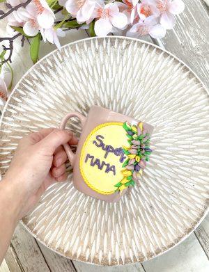 """Cana fimo """"Lalele"""", decorata manual, AHGL13450"""