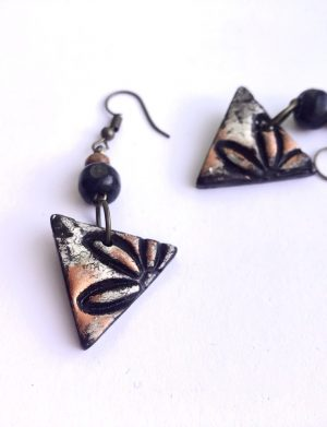 "Cercei triunghi ""Black Flower"", AHGL12820"