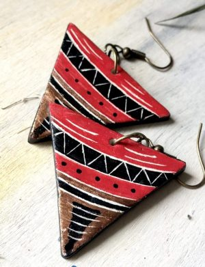 Cercei Triunghi Rosu Cu Motive Azteci 2