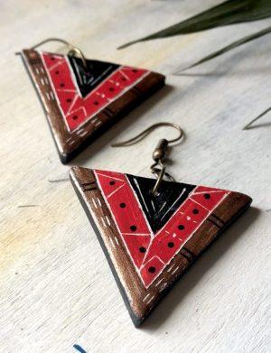 Cercei Triunghi Rosu Cu Motive Azteci
