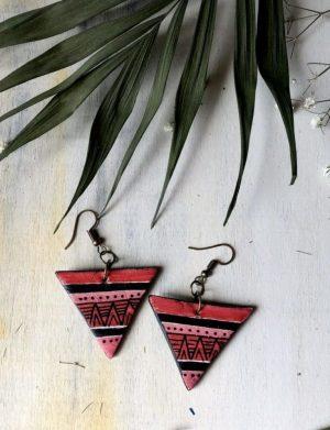 Cercei Triunghi Rosu Cu Motive Aztece3