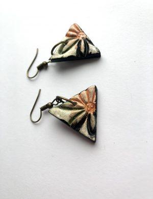 Cercei triunghi cu print floral, AHGL12813
