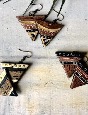 Cercei Triunghi Bronz Cu Motive Aztece 3