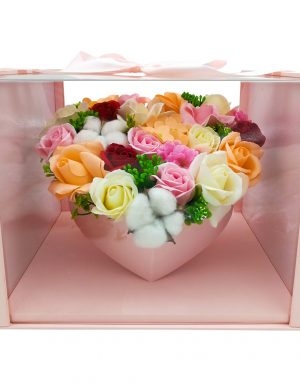 Aranjament True Love, trandafiri flori de sapun, multicolor, DSPH10213