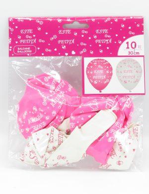 Baloane ESTE FETITA, 10buc/set, roz&alb – ILIF1925