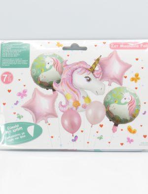 Baloane Unicorn, 7buc/set, roz si verde – ILIF1920