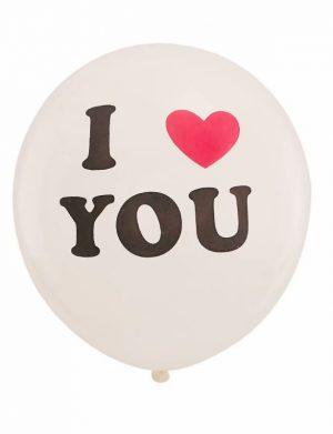 Baloane I LOVE YOU, 6buc/set, Alb – ILIF1910