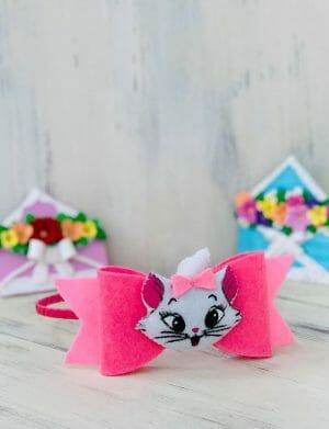 Bentita pentru par cu Pisicuta realizata din Fetru pentru fetite cochete, lucrata manual, YOB21203