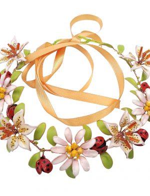 Coronita cu flori si buburuze, pe snur, cu margelute, multicolor NMCJ021