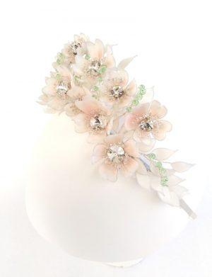 Diadema Flora 2-  alb/roz pal NMCJ020