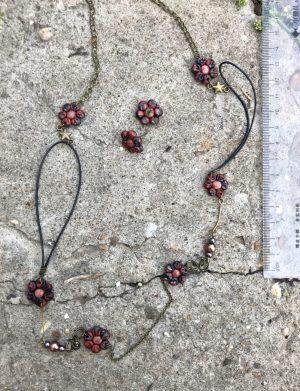 Set colier + cercei floricele din fimo colorat, AHGL12569