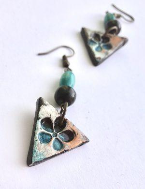 "Cercei triunghi ""Blue Flower"", AHGL12819"