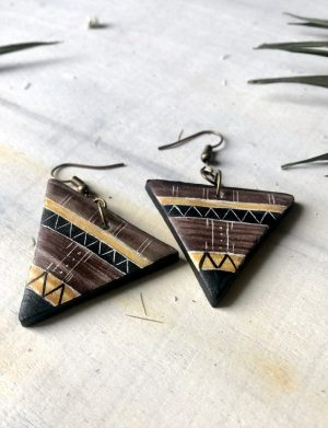 Cercei Triunghi Maro Cu Motive Aztece