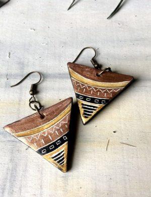 Cercei Triunghi Bronz Cu Motive Aztece