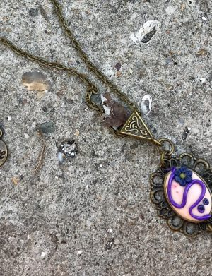 """Pandantiv din fimo cu baza cabochon din bronz """"PurpleCab"""", AHGL12595"""
