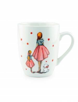 Cana Pictata cu figurine Mama, Fiica si Catelus, YOB21209