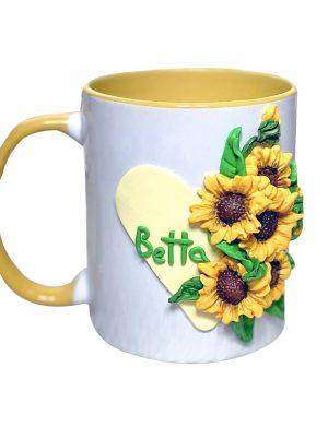 """Cana fimo """"Floarea-Soarelui"""", decorata manual, AHGL13447"""