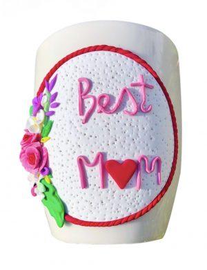 "Cana fimo "" Best Mom"", decorata manual, AHGL12982"