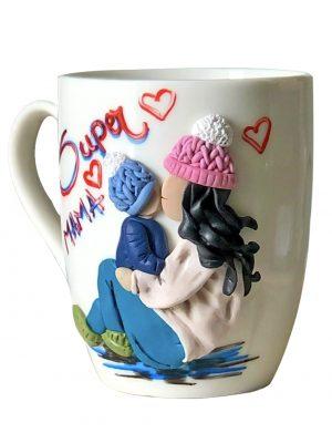 """Cana fimo """" Super Mama"""" (2), decorata manual, AHGL12983"""