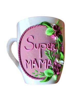 """Cana fimo """"Super Mama"""" (1), decorata manual, AHGL12981"""