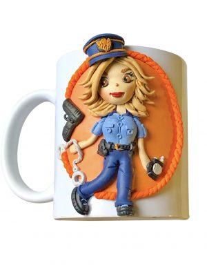 "Cana decorata cu pasta polimerica fimo ""Police"", decorata manual, AHGL13421"