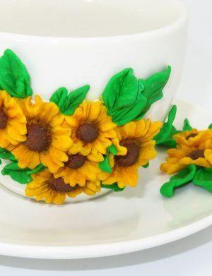 """Set fimo, cana si farfurie """"Floarea-soarelui"""", decorare manuala, SAHGL174"""