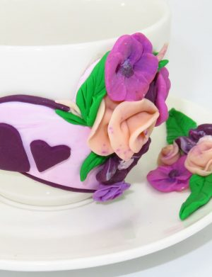 """Set fimo, cana si farfurie """"Violete"""", decorare manuala, SAHGL175"""