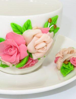 """Set fimo, cana si farfurie """"Trandafiri roz"""", decorare manuala, SAHGL176"""