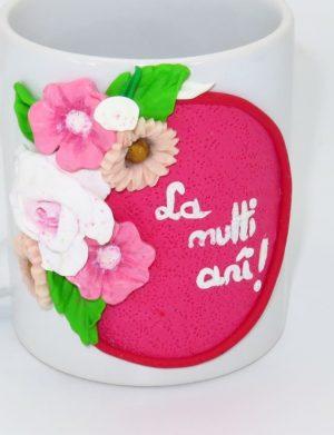 """Cana fimo """"La multi ani!"""", Roz, decorata manual, SAHGL177"""