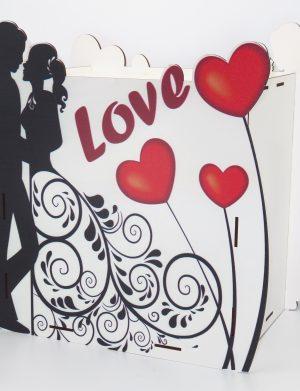 Cutie Dar Nunta, din placaj lemn 33x21x35 cm, decorata Love – ILIF1819