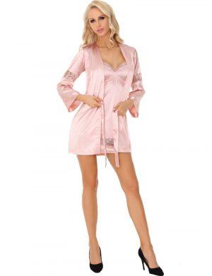 Set Deliam, LivCo, roz, cu rochie, halat si chilot – LRIS1913