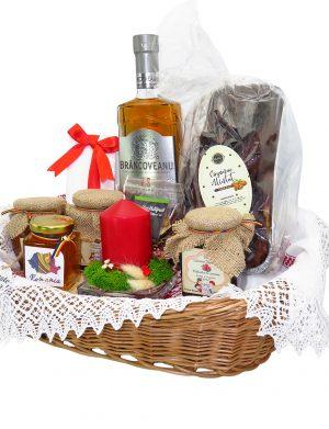 Cos cadou traditional Paste Fericit, 11 piese, produse naturale, ILIF141