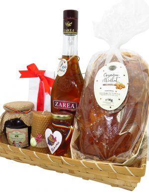 Cos cadou traditional Paste, Tava cu Bunatati, 7 piese, produse naturale, ILIF143