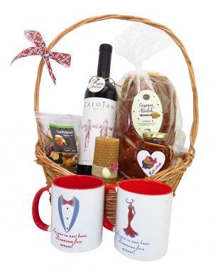 Cos cadou traditional Paste, Multumire Nasi, 8 piese, produse naturale, ILIF148