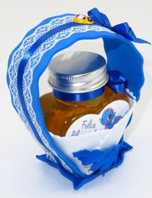 """Marturii dulci cu miere, model handmade """"Cupe cu nectarâ€� – albastru, borcan 90 gr – DSBC1672"""