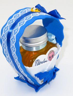 """Marturii dulci cu miere, model handmade """"Cupe cu nectarâ€� – albastru , borcan 90 gr – DSBC1673"""