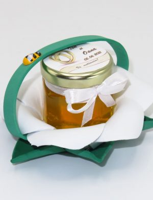 "Marturii dulci cu miere, model handmade ""Zumzet dulceâ€� – verde alb, borcan 50 gr  – DSBC1684"