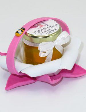 "Marturii dulci cu miere, model handmade ""Zumzet dulceâ€� – roz, borcan 50 gr  – DSBC1686"