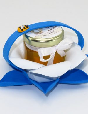 "Marturii dulci cu miere, model handmade ""Zumzet dulceâ€� – albastru, borcan 50 gr – DSBC1695"