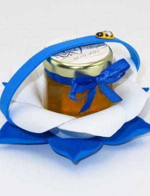 "Marturii dulci cu miere, model handmade ""Zumzet dulceâ€� – albastru, borcan 50 gr – DSBC1690"