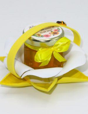 "Marturii dulci cu miere, model handmade ""Zumzet dulceâ€� – galben, borcan 50 gr – DSBC1691"