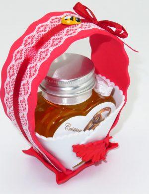 "Marturii dulci cu miere, model handmade ""Cupe cu nectarâ€� – rosu, borcan 90 gr  – DSBC1677"