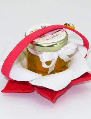 "Marturii dulci cu miere, model handmade ""Zumzet dulceâ€� – rosu, borcan 50 gr  – DSBC1694"