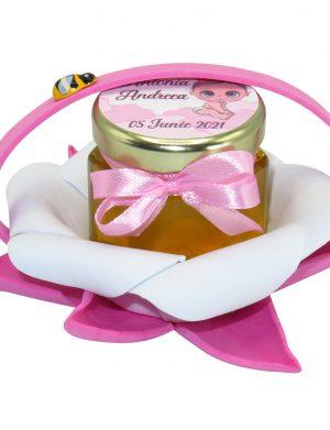 "Marturii dulci cu miere, model handmade ""Zumzet dulceâ€� – roz, borcan 50 gr  – DSBC1685"