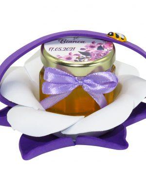 "Marturii dulci cu miere, model handmade ""Zumzet dulceâ€� – mov, borcan 50 gr – DSBC1687"