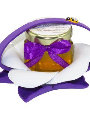 "Marturii dulci cu miere, model handmade ""Zumzet dulceâ€� – mov, borcan 50 gr – DSBC1688"