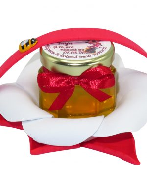 "Marturii dulci cu miere, model handmade ""Zumzet dulceâ€� – rosu, borcan 50 gr  – DSBC1693"