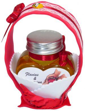 "Marturii dulci cu miere, model handmade ""Cupe cu nectarâ€� – rosu, borcan 90 gr – DSBC1676"